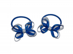 Hair Pony  Bows x  2.   Royal/White